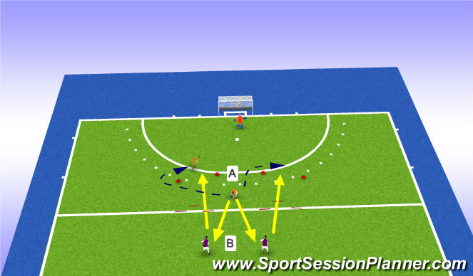Hockey Session Plan Drill (Colour): Looplijnen spitsen