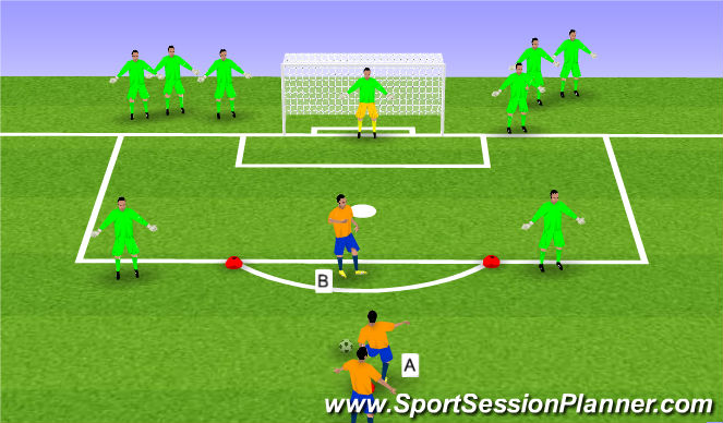 Football/Soccer Session Plan Drill (Colour): Shooting Wars