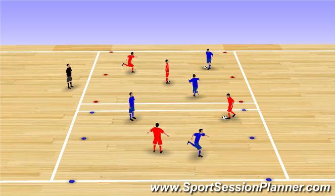 Futsal Session Plan Drill (Colour): 2v2 Zones for Goals