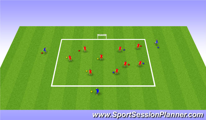 Football/Soccer Session Plan Drill (Colour): Warm Up - Coloured Tag