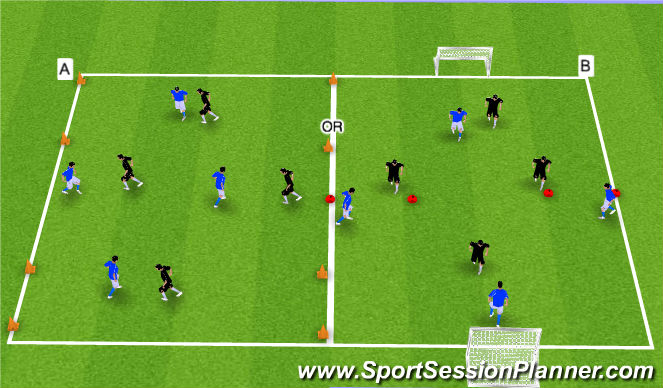 Football/Soccer Session Plan Drill (Colour): Arrival Switching the Point Game