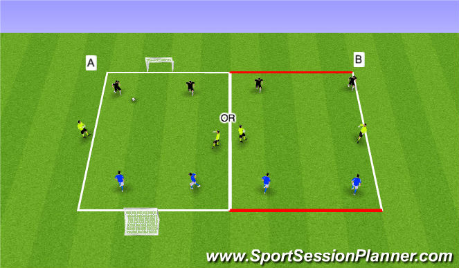 Football/Soccer Session Plan Drill (Colour): 2v2 + 2N