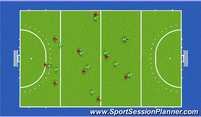 Hockey Session Plan Drill (Colour): press 3232 vs 3d