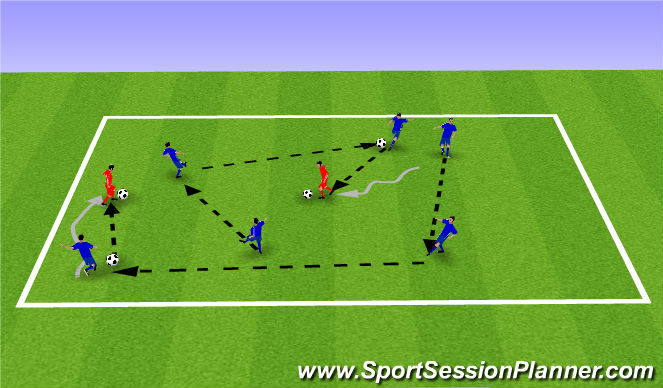 Football/Soccer Session Plan Drill (Colour): Warm-Up - Paint the square