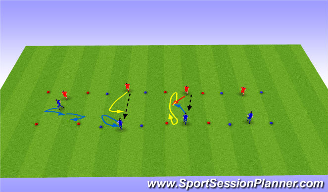 Football/Soccer Session Plan Drill (Colour): 1v1 in Boxes