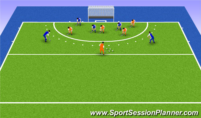 Hockey Session Plan Drill (Colour): 5 - 3 vs 3-5