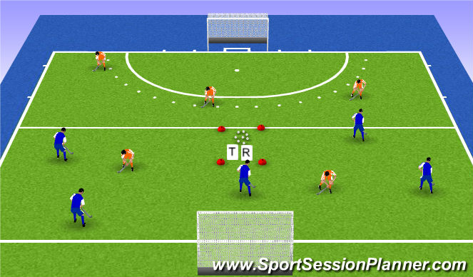 Hockey Session Plan Drill (Colour): Trainers partij