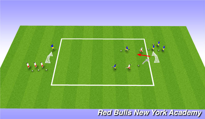 Football/Soccer Session Plan Drill (Colour): 1v1 under pressure from behind