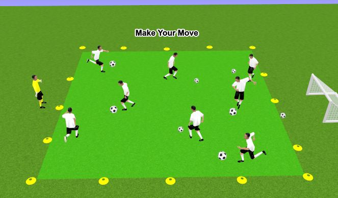 Football/Soccer Session Plan Drill (Colour): Make Your Move