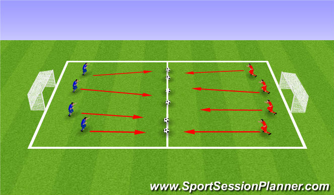 Football/Soccer Session Plan Drill (Colour): Warm-Up - Soccer Dodgeball & Soccer Wars