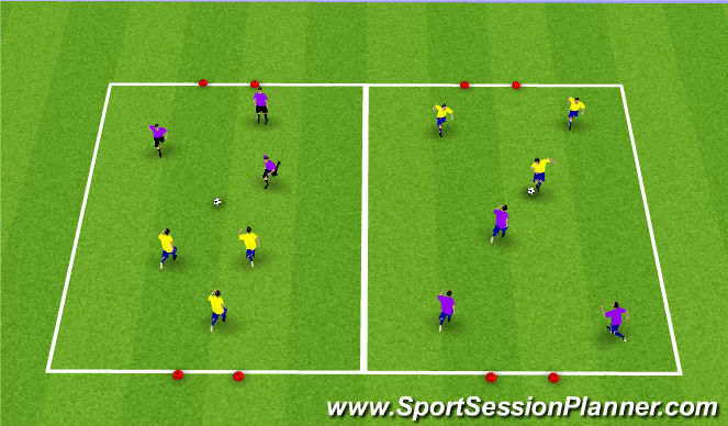 Football/Soccer Session Plan Drill (Colour): 3v3 or 4v4 SSG