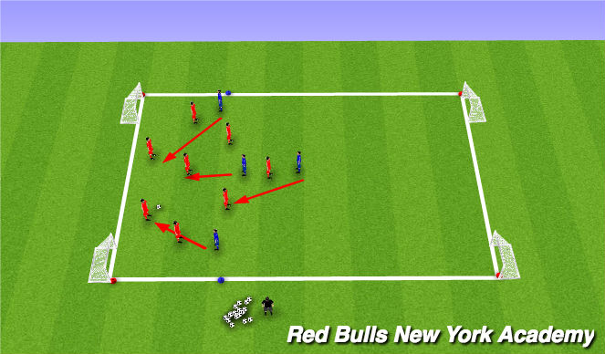 Football/Soccer Session Plan Drill (Colour): 8v4 press