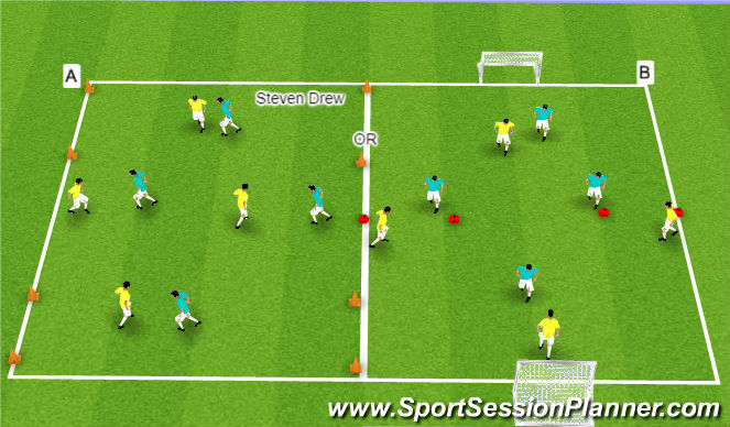 Football/Soccer Session Plan Drill (Colour): Arrival Game: Switching the Point