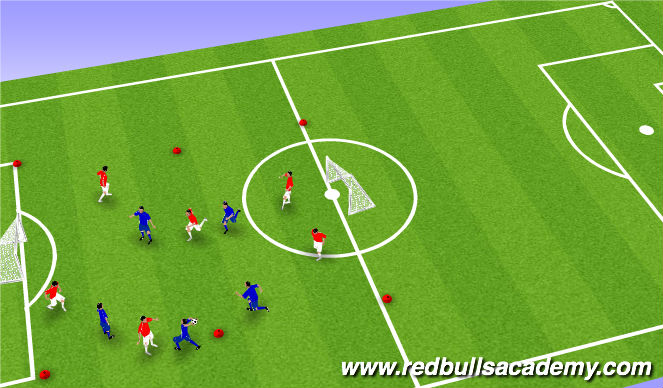 Football/Soccer Session Plan Drill (Colour): Fun passing game.