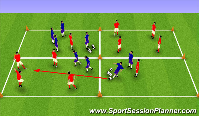 Football/Soccer Session Plan Drill (Colour): 4 v 2 possession