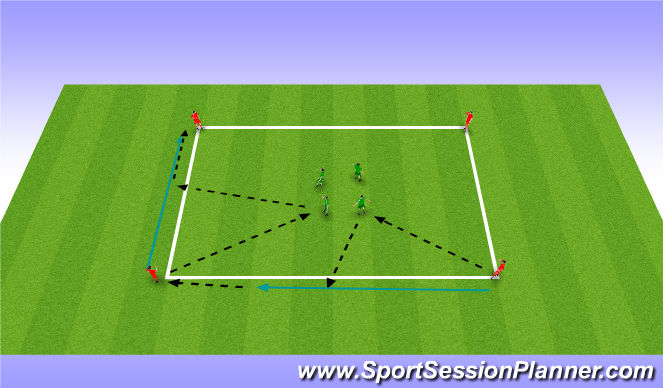 Football/Soccer Session Plan Drill (Colour): Technical pass/move