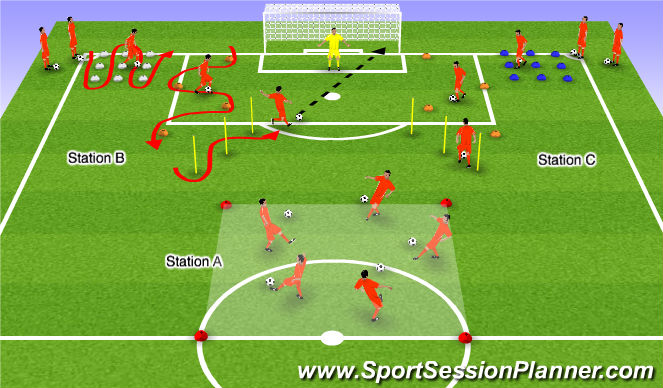 Football/Soccer Session Plan Drill (Colour): Ball Work Warm Up