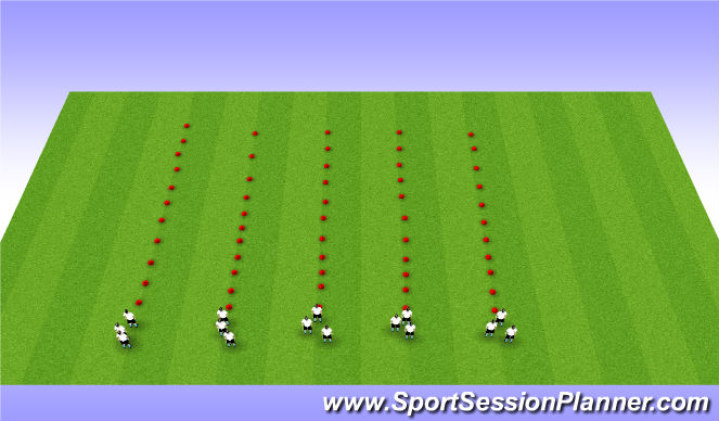 Football/Soccer Session Plan Drill (Colour): Footwork warmup