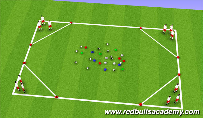 Football/Soccer Session Plan Drill (Colour): Warm Up - Burger joint