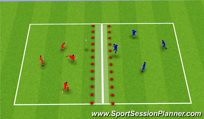 Football/Soccer Session Plan Drill (Colour): Fótboltatennis.