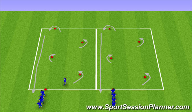 Football/Soccer Session Plan Drill (Colour): 45 degree dribbling