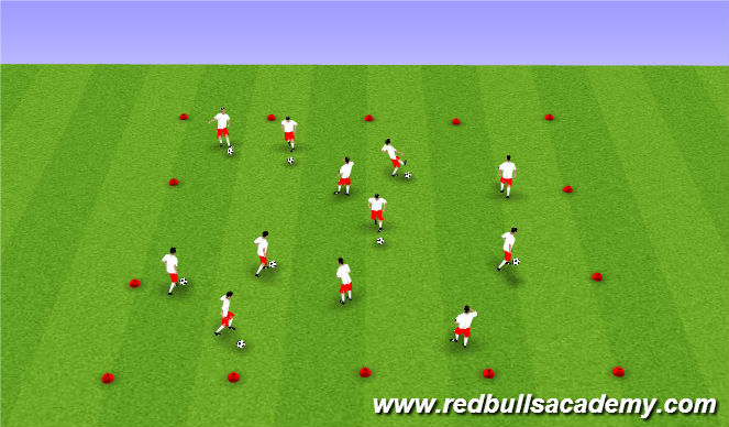Football/Soccer Session Plan Drill (Colour): Warm Up - Changes of Direction
