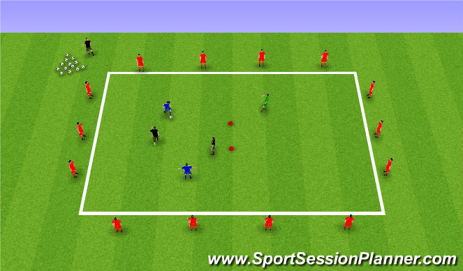 Football/Soccer Session Plan Drill (Colour): 2v2+1
