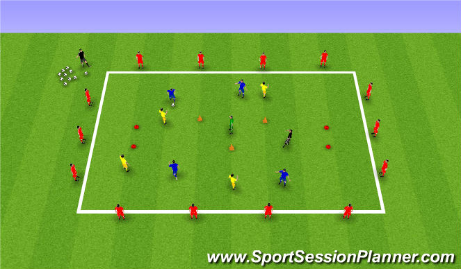 Football/Soccer Session Plan Drill (Colour): Goals Galore