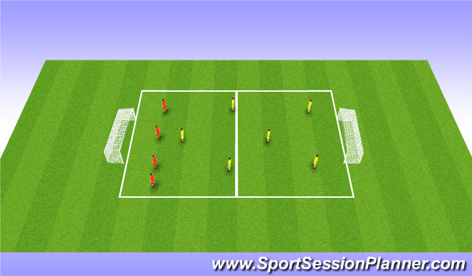 Football/Soccer Session Plan Drill (Colour): 6 v 4 Sm Sided Game
