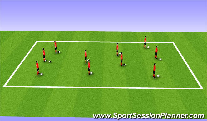 Football/Soccer Session Plan Drill (Colour): Ball in the Legs