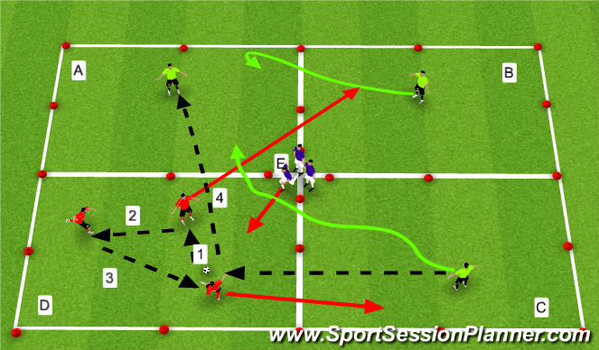 Football/Soccer Session Plan Drill (Colour): Sarpness in concentration and aerobic levels . . .