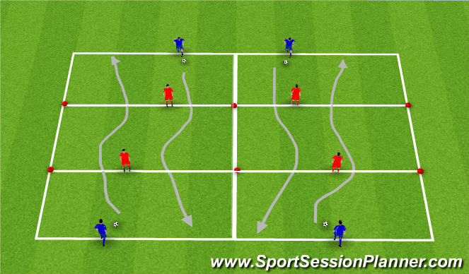 Football/Soccer Session Plan Drill (Colour): Dribble with pressure