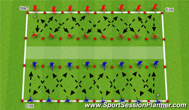 Football/Soccer Session Plan Drill (Colour): Passing and control drill