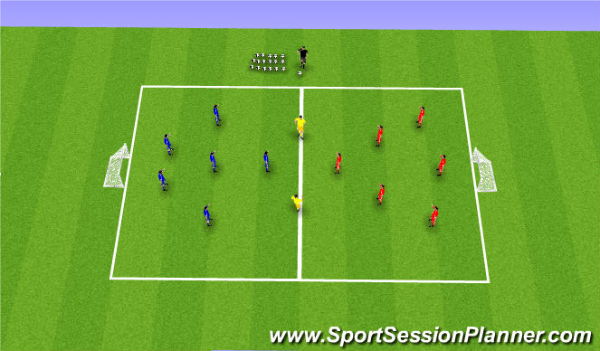 Football/Soccer Session Plan Drill (Colour): 6v6+2