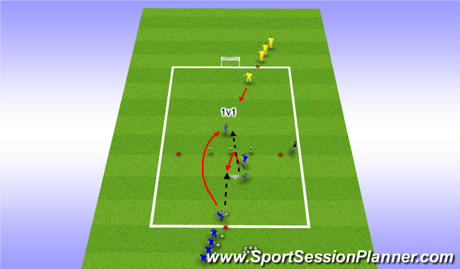 Football/Soccer Session Plan Drill (Colour): Target Player Back to Midfield Run