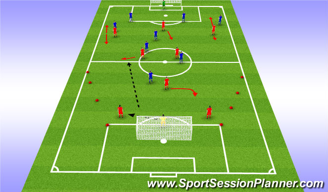 Football/Soccer Session Plan Drill (Colour): SSG - 9v9