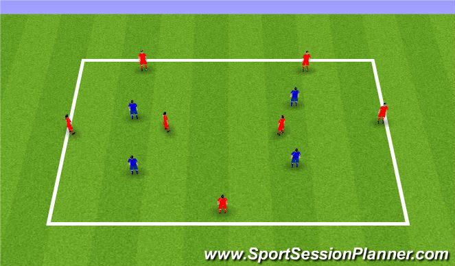 Football/Soccer Session Plan Drill (Colour): 7v4 Possession