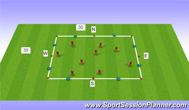 Football/Soccer Session Plan Drill (Colour): Dribblling and rwb
