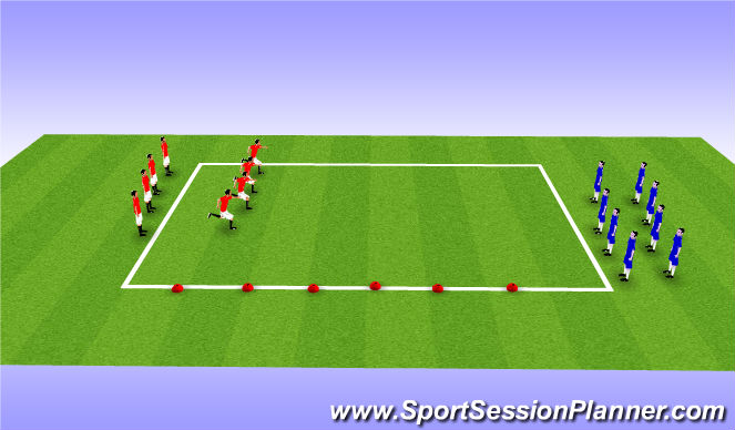Football/Soccer Session Plan Drill (Colour): Acceleration Runs Cycle 1 Step 2