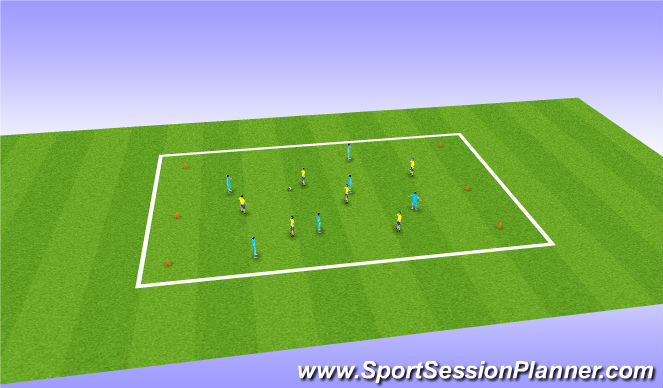 Football/Soccer Session Plan Drill (Colour): Cone game: To improve possession and quick reaction to switch play.