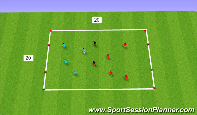 Football/Soccer Session Plan Drill (Colour): 4 v 4 + 2 to gates