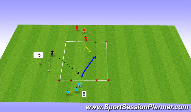 Football/Soccer Session Plan Drill (Colour): 1 v1 dribbling continous