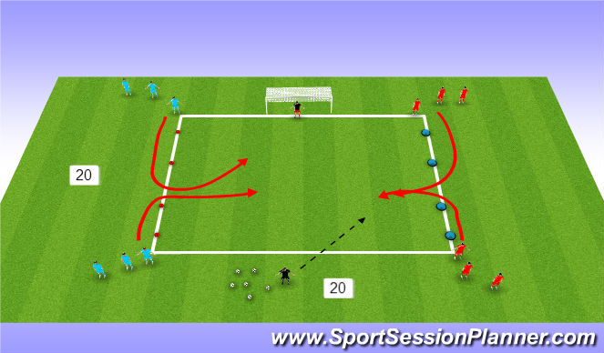 Football/Soccer Session Plan Drill (Colour): 2  v 2 coaches call