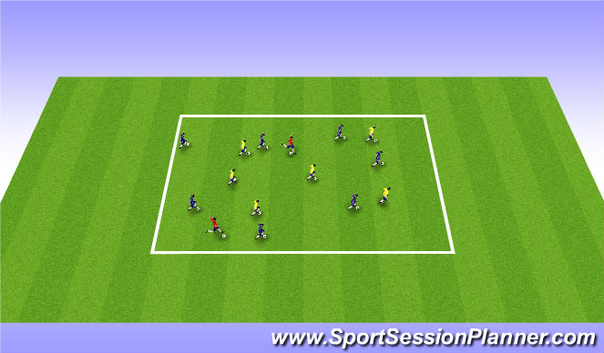Football/Soccer Session Plan Drill (Colour): Warm up game, Dribble tag