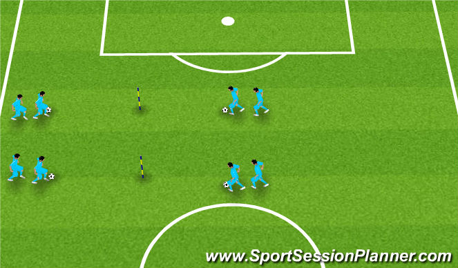 Football/Soccer Session Plan Drill (Colour): Dribbling at a partner