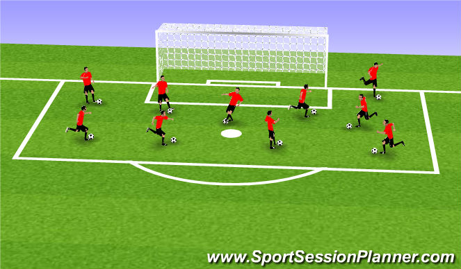 Football/Soccer Session Plan Drill (Colour): Kids Warm Up Drill