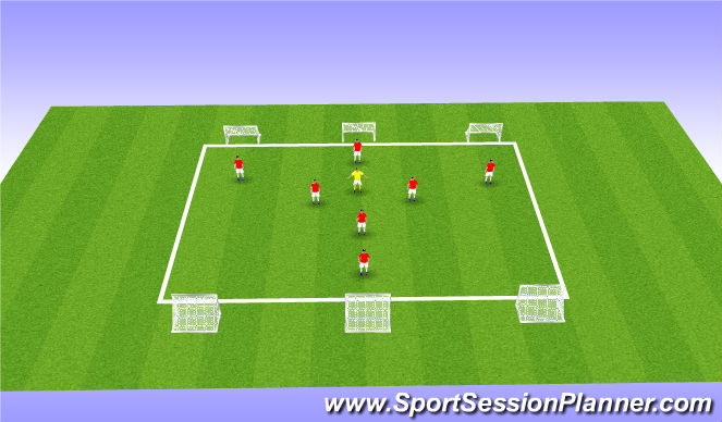 Football/Soccer Session Plan Drill (Colour): 7v7+1
