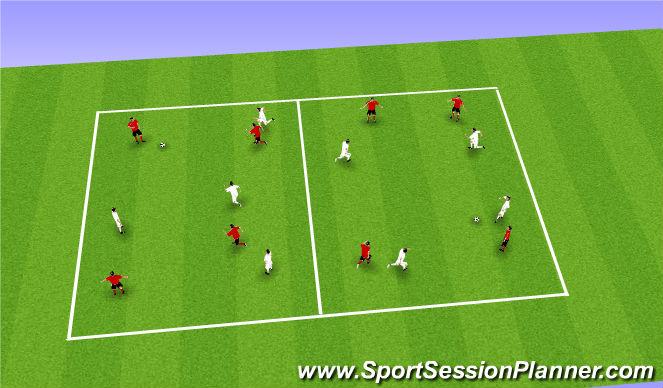 Football/Soccer Session Plan Drill (Colour): 4v4/4v3