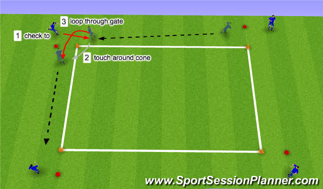 Football/Soccer Session Plan Drill (Colour): Touch Around Cone