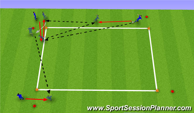 Football/Soccer Session Plan Drill (Colour): Checking into Space